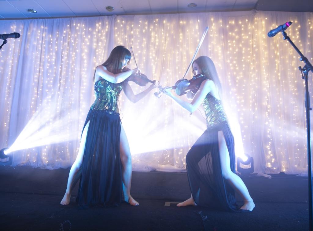 Irish rock violinists Sephira play on stage