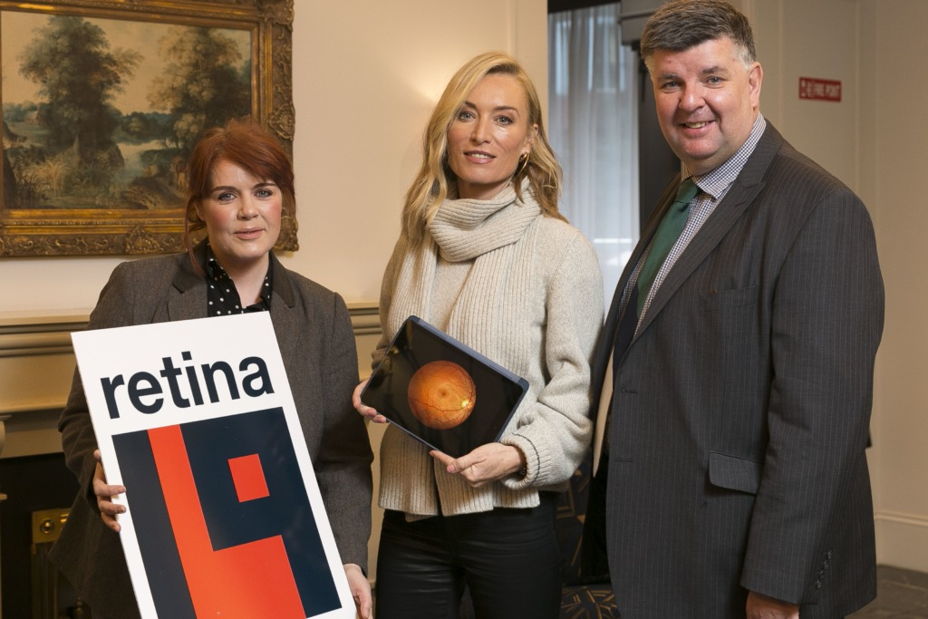 Cllr Neasa Hourigan, Victoria Smurfit and Kevin Whelan, CEO Fighting Blindness pose together