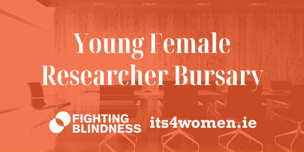 Orange graphic with words Young Female Researcher Bursary