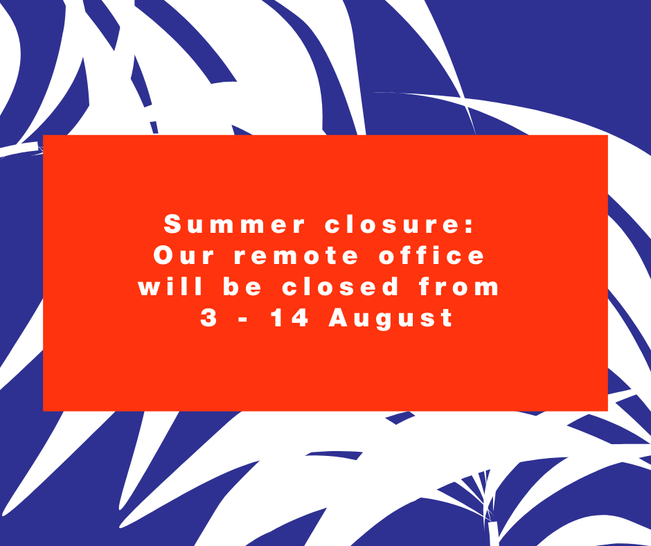 Orange and blue graphic with the words summer closure