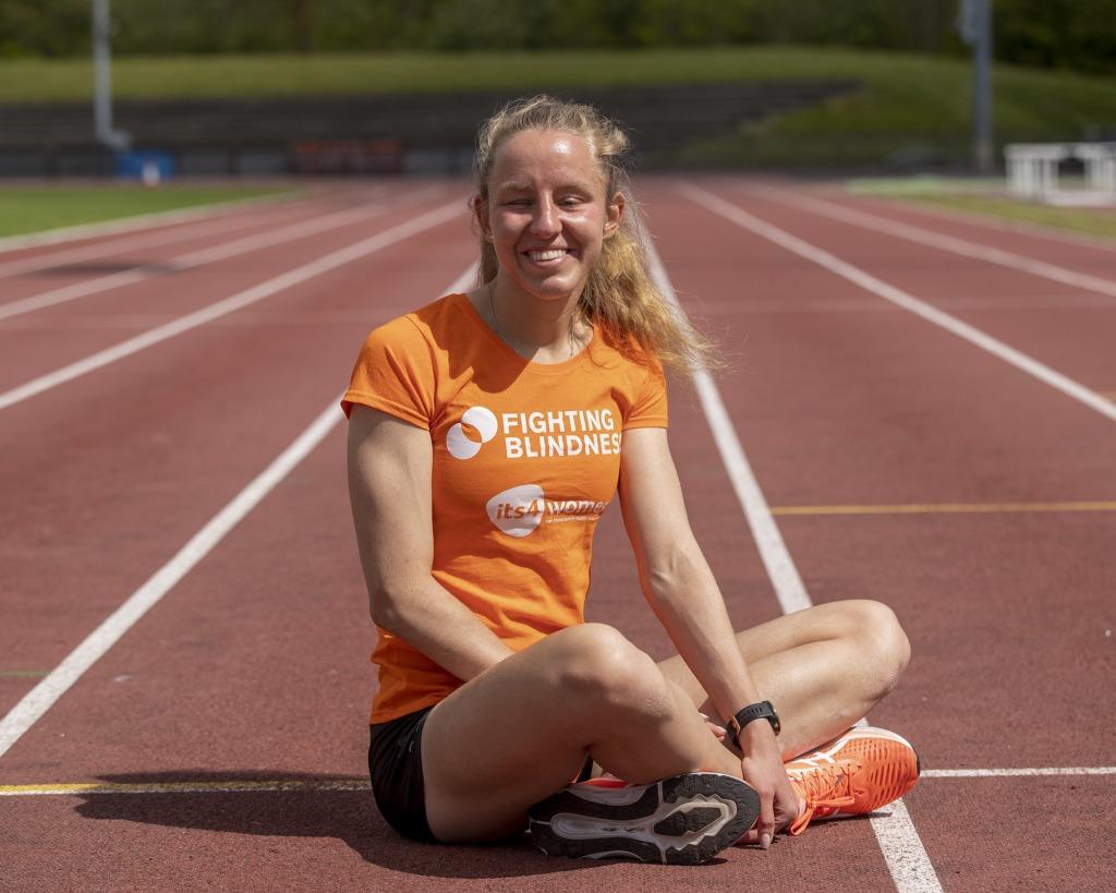 Greta Streimikyte sitting on the race track