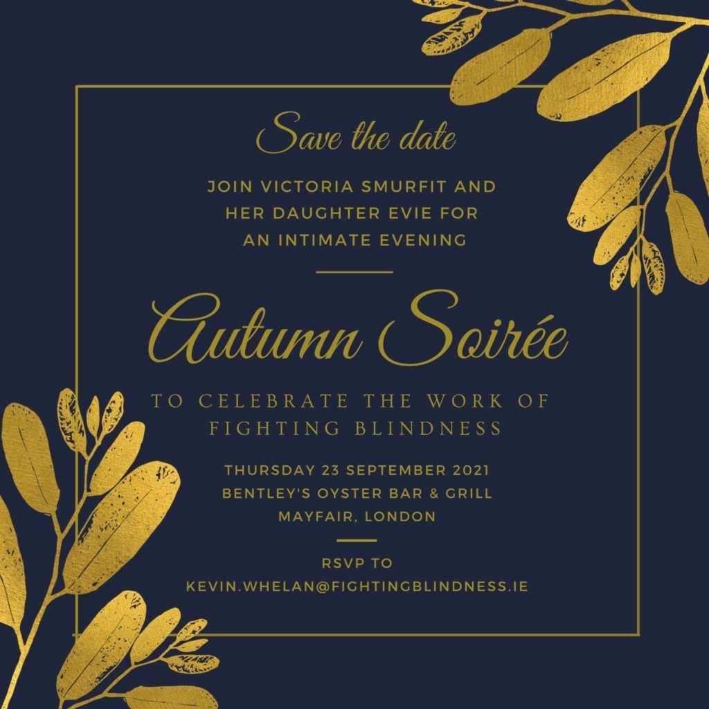 Image of invite for Victoria Smurfit and her daughter Evie's Autumn Soiree in London